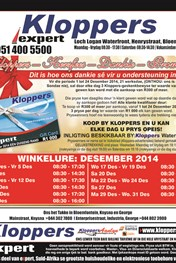 Find Specials || Kloppers Opening & Closing Times December