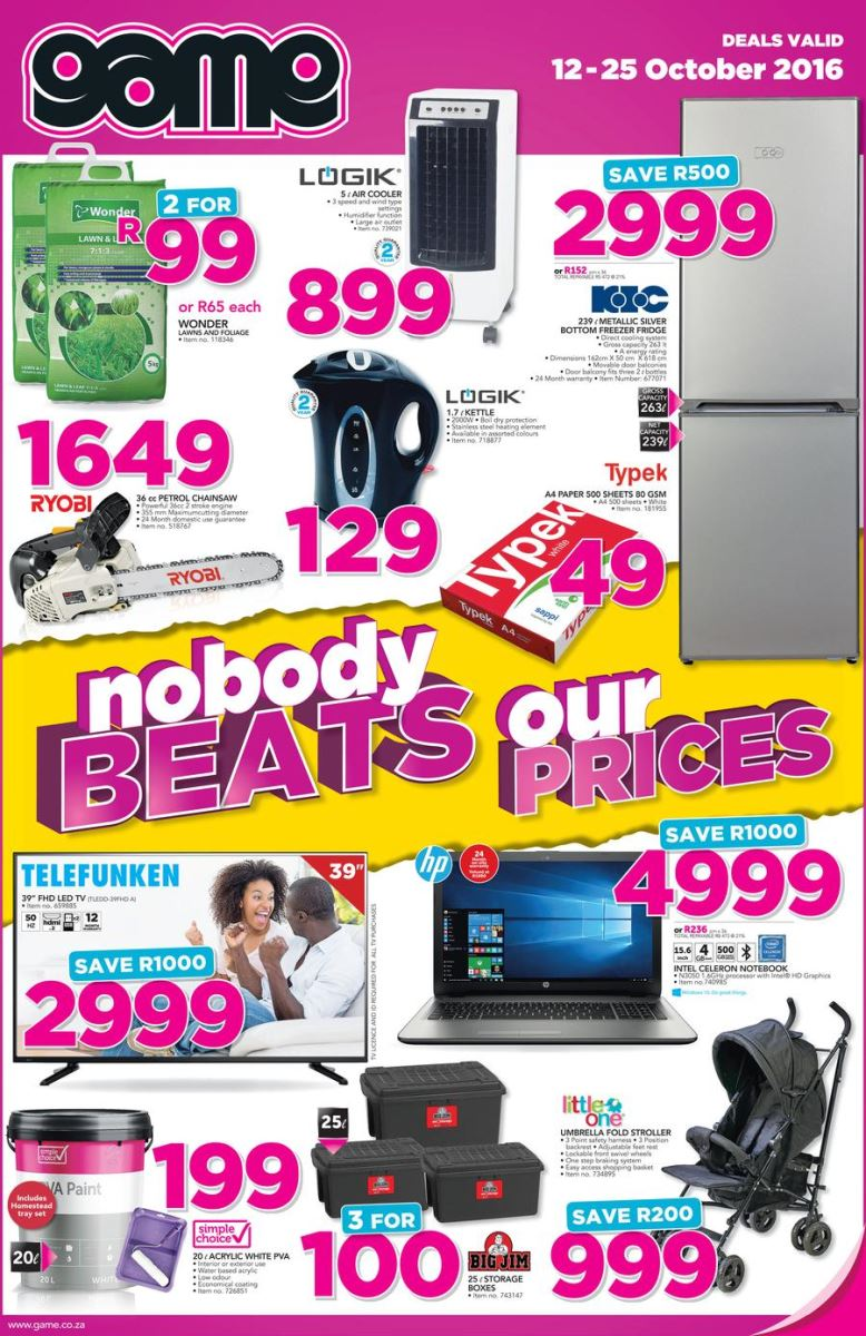 Game weekly specials catalogue 12 oct 2016 25 oct 2016 find specials Mr price home furniture catalogue 2011