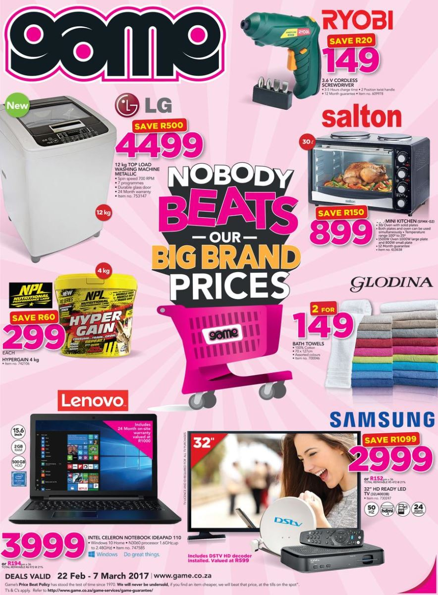 Game Weekly Specials Catalogue 22 Feb 2017 07 Mar 2017 Find Specials
