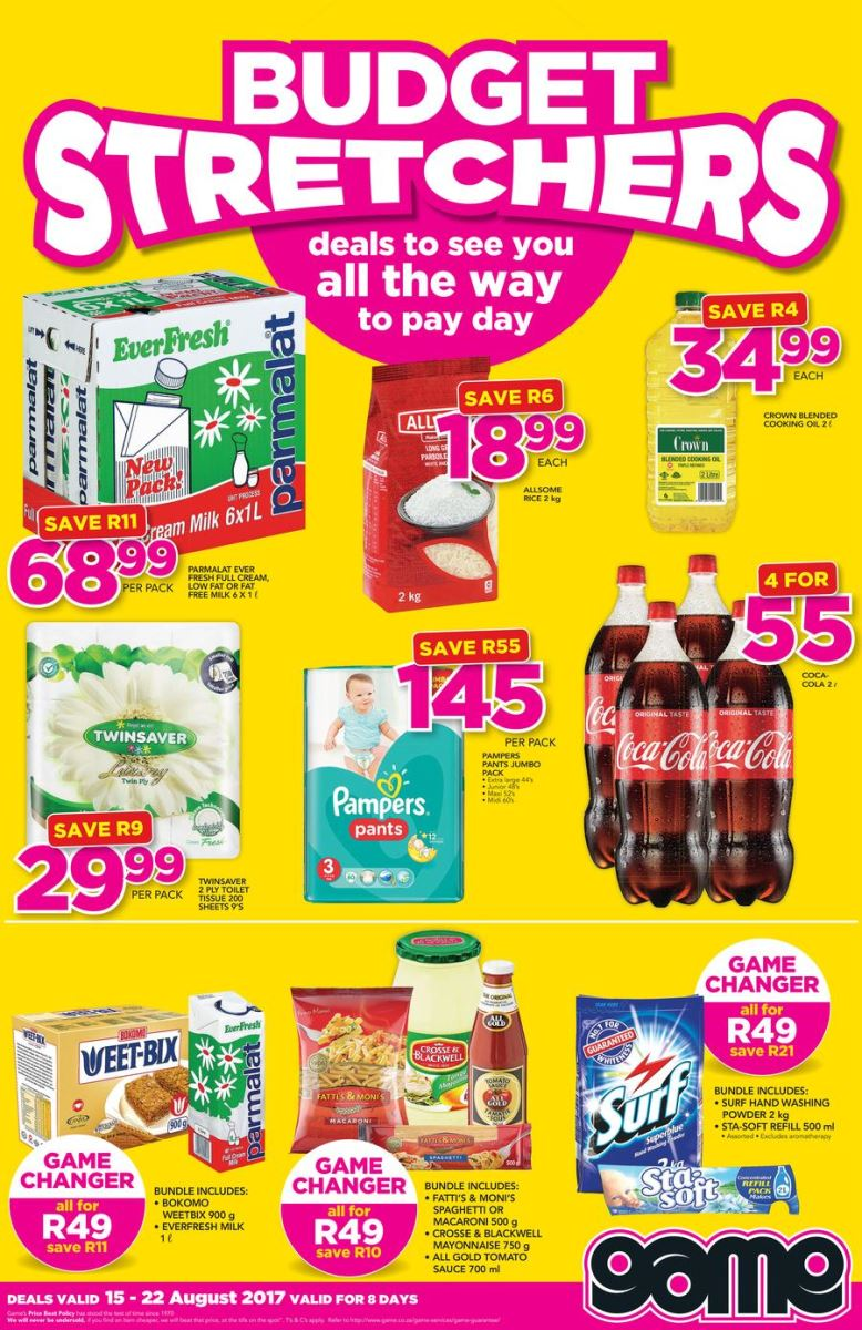 Game Weekly Grocery Specials 15 Aug 2017 22 Aug 2017
