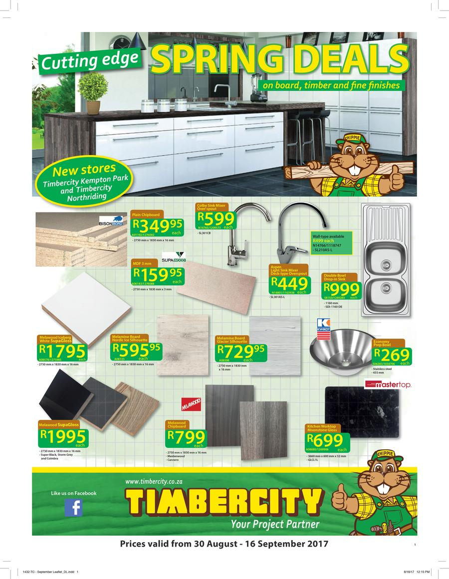 Timbercity Specials Catalogue 30 Aug 2017 16 Sep 2017