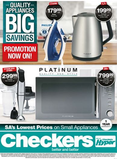 Kzn Checkers Small Appliances Deals 21 May 2018 03 Jun