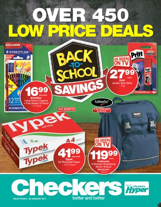 Checkers Back To School Specials 02 Jan 2017 29 Jan 2017