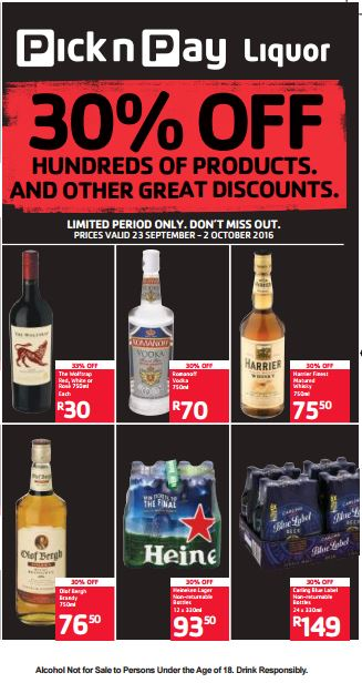 Pick N Pay Liquor Deals 23 Sep 2016 02 Oct 2016 Find
