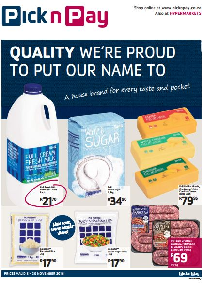 Western Cape Pick N Pay Brand Promotions 08 Nov 2016 20