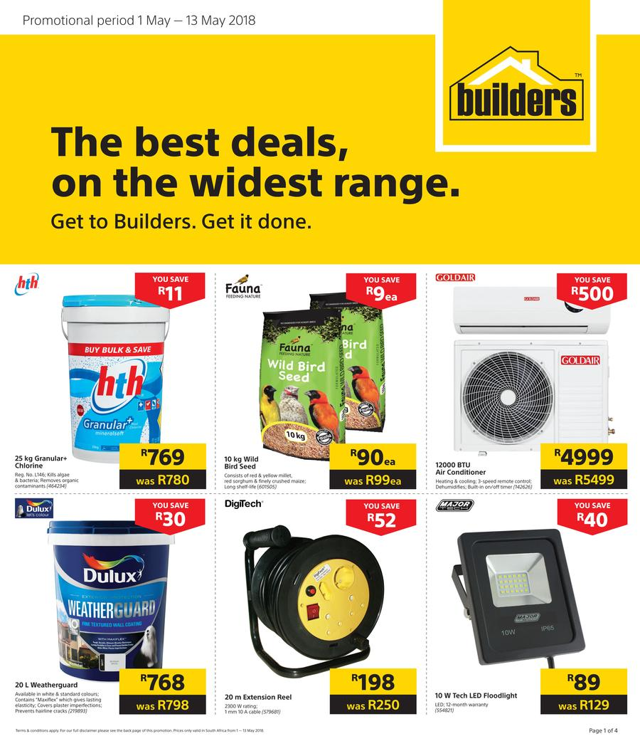 Builders Best Deals 01 May 2018 15 May 2018 Find Specials