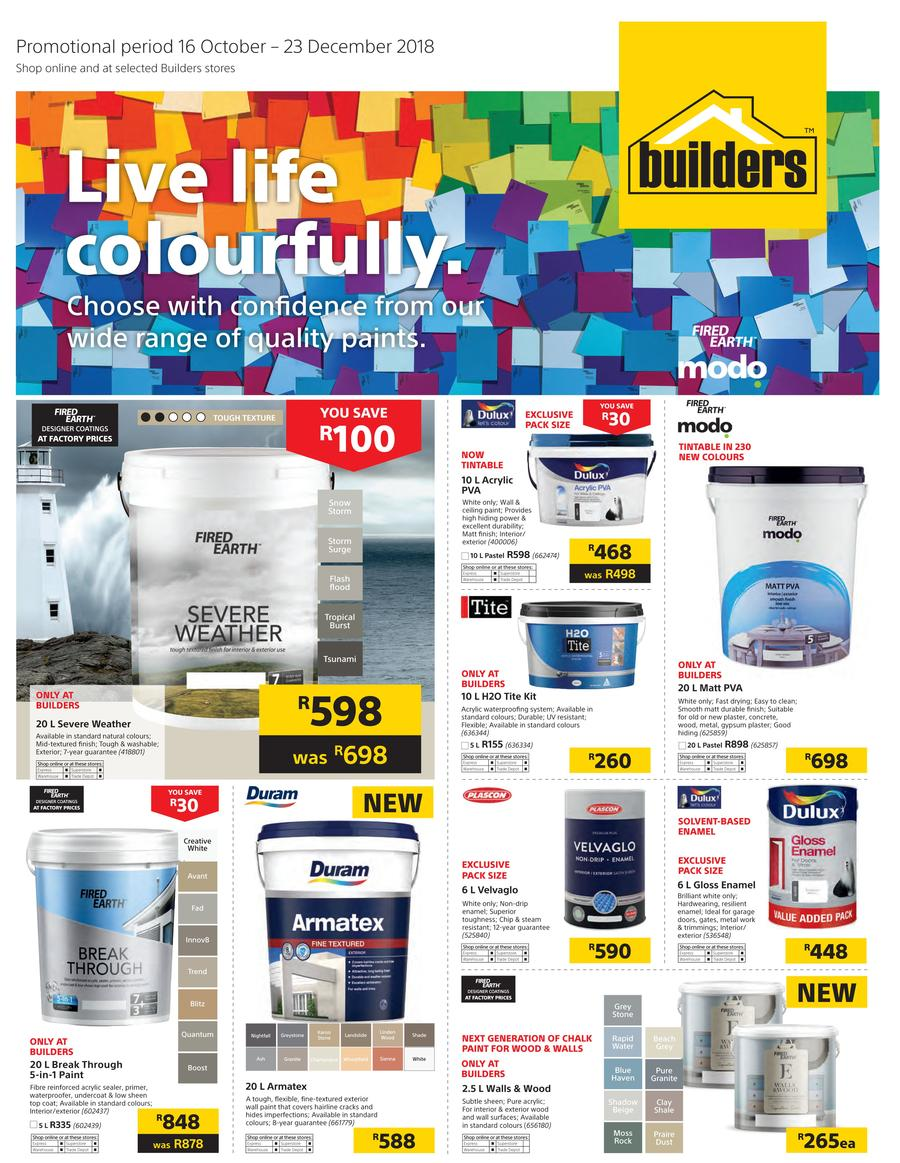 Builders Paint Specials 16 Oct 2018 23 Dec 2018 Find
