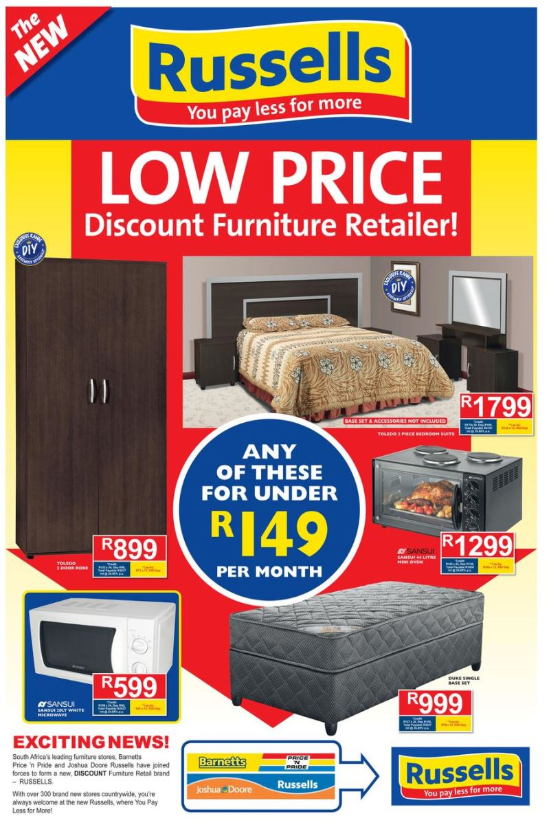 Russells specials catalogue 19 sep 2016 08 oct 2016 find specials Home furniture catalogue south africa