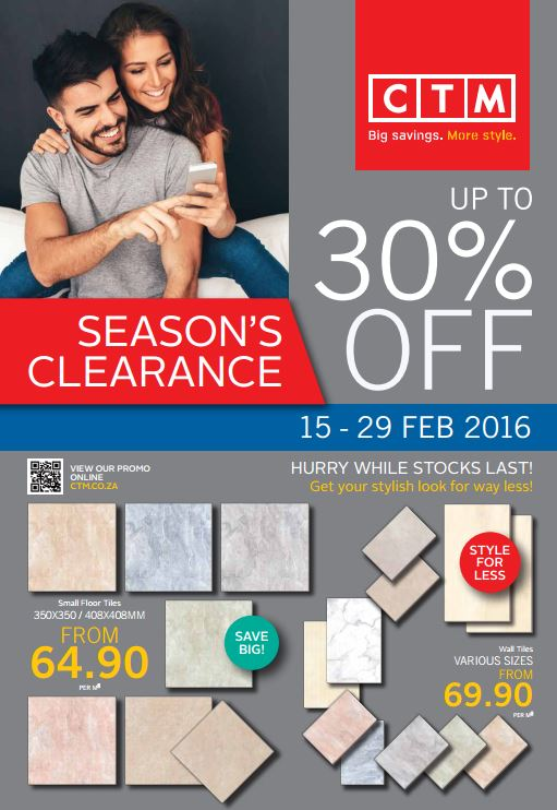 Ctm 30 Off Sale 15 Feb 2016 29 Feb 2016 Find Specials