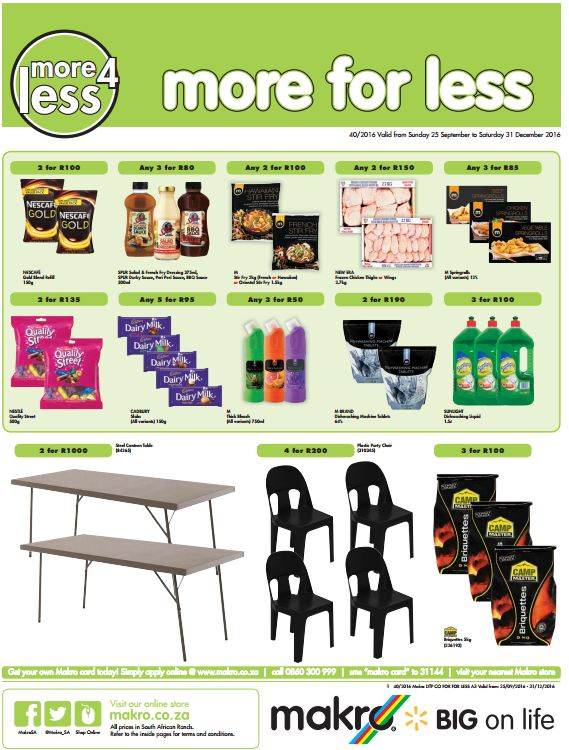 Makro More For Less Specials 26 Sep 2016 31 Dec 2016 Find Specials
