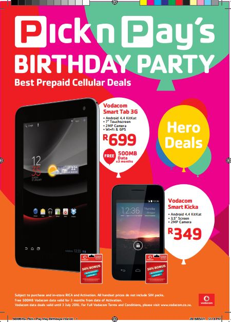 Pick N Pay Cellular Deals 24 May 2016 03 Jul 2016