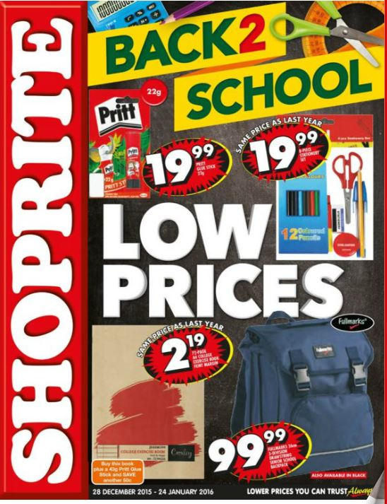 Back To School Shoprite Specials 28 Dec 2015 24 Jan 2016 Find Specials