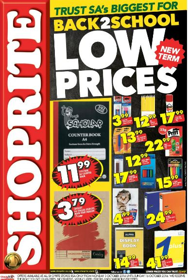 Shoprite Back To School Promotion 03 Oct 2016 16 Oct