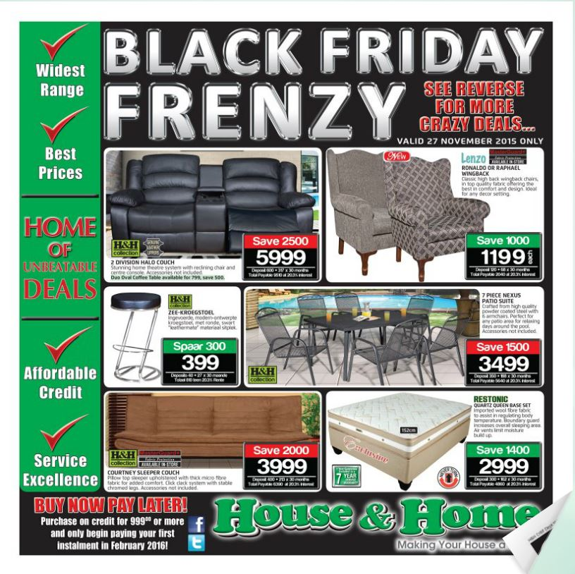 House And Home Black Friday Sale 27 Nov 2015 27 Nov 2015 Find Specials