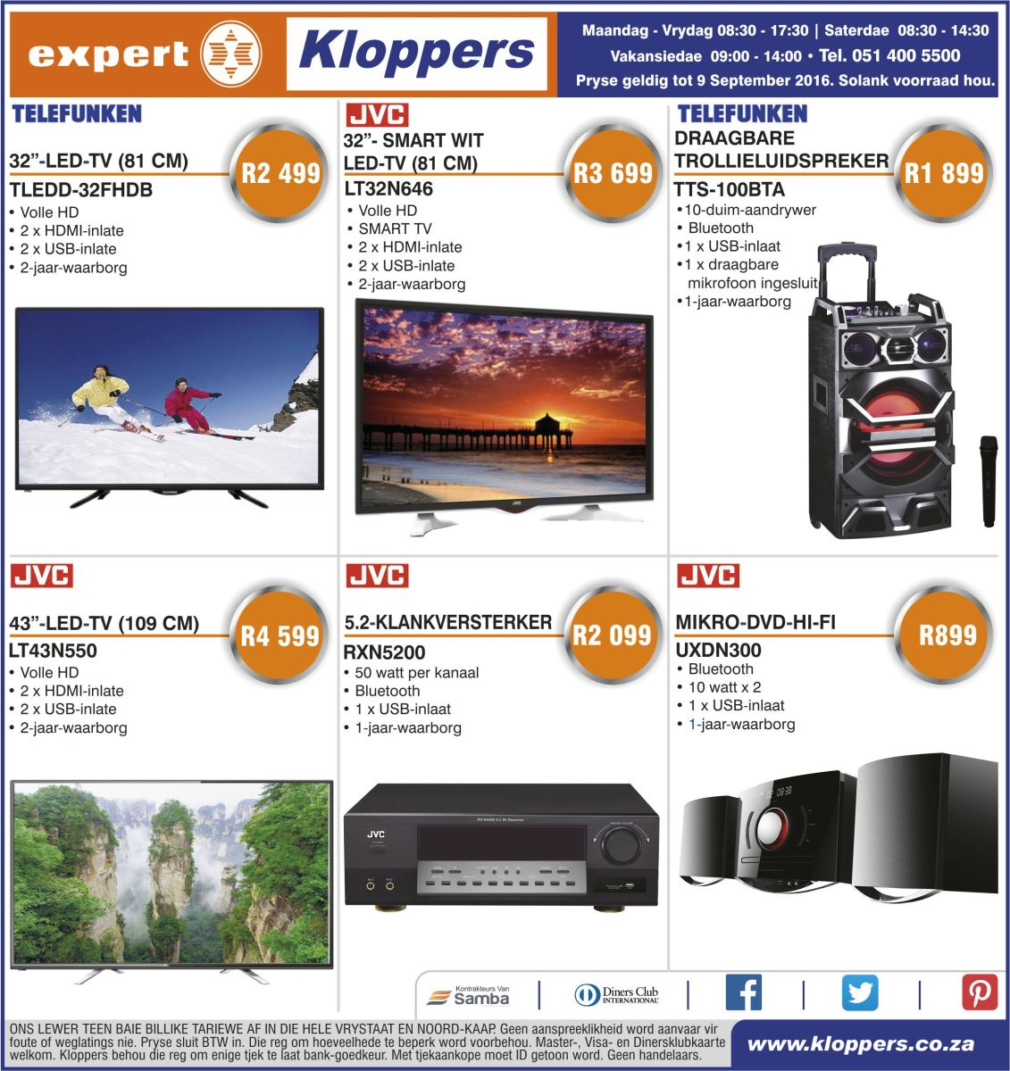 Kloppers Weekly Specials 06 Sep 2016 09 Sep 2016 Find