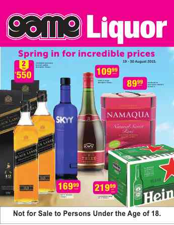 Game Liquor Specials 19 Aug 2015 30 Aug 2015 Find Specials